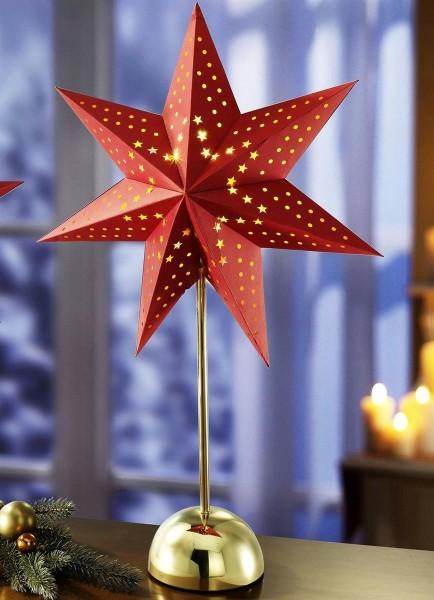 Tischleuchte Stern Papier rot