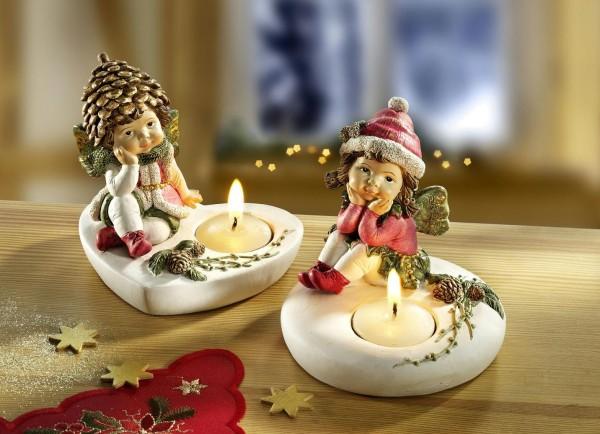 Teelichthalter Winterkinder 2er Set