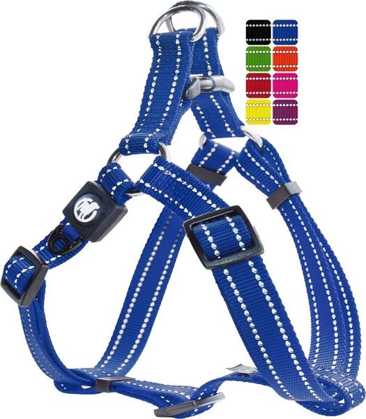 DDOXX Hundegeschirr Nylon reflektierend blau Gr. XS