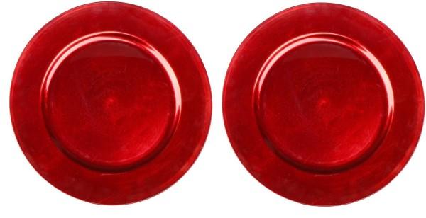 2x Dekoteller Rot