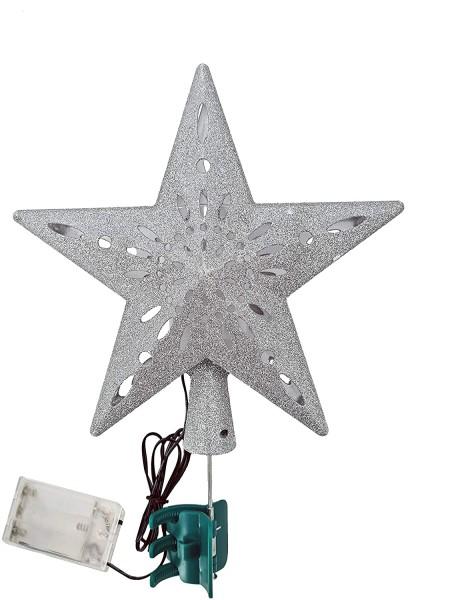 Weihnachtsbaumspitze LED Silber