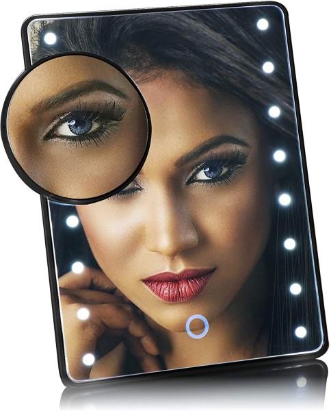 LED-Kosmetikspiegel mit 10-Fach-Vergrößerungsspiegel schwarz