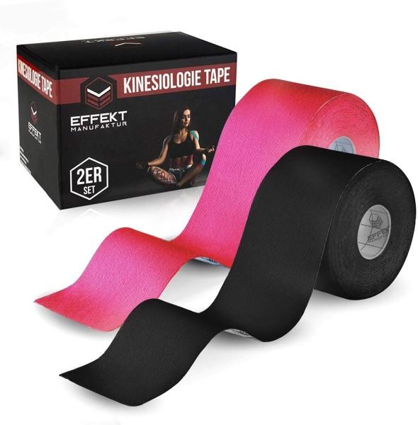 2er Set Effekt Manufaktur Kinesiotapes Rolle 5m x 5cm wasserfest Tape sw/pi