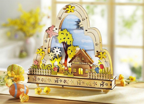Frühlingsdekoration Fensterleuchter Ostern mit Spielwerk 50946 DS