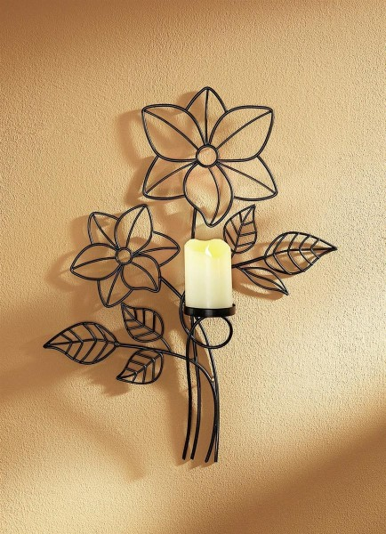Wandkerzenhalter mit Kerze LED Echtwachskerze Wandlicht 50911 DS