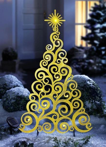 LED Solar Tannenbaum gold