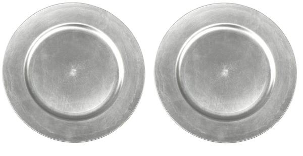 2x Dekoteller Silber