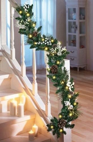 Beleuchtete Tannengirlande Girlande Weihnachten Dekoration Lichterkette