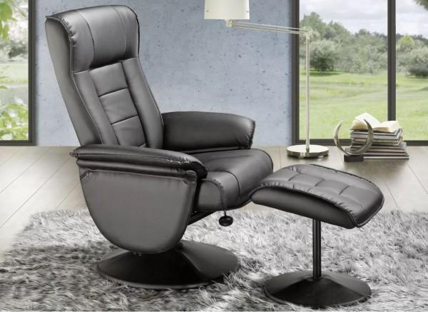 Relaxsessel + Hocker Sophie Ruhesessel Sitzmöbel Fernsehsessel grau