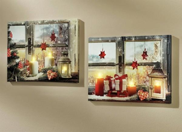 2er Set Wandbild Leuchtbild - Weihnachtsmotive -
