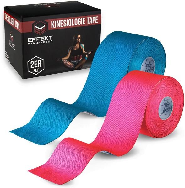 2er Set Effekt Manufaktur Kinesiotapes Rolle 5m x 5cm wasserfest Tape bl/pi