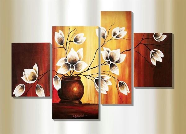 Bild 4 teilig Bilder Set - Magnolien in Vase - Künstler Rumin Wandbild