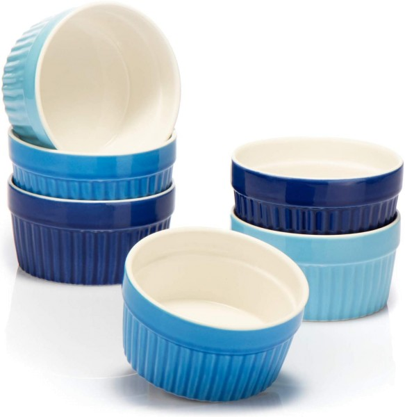 6x Auflaufform Keramik blau Ø11cm 270ml