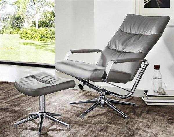 Relaxsessel + Hocker Rumba Ruhesessel Sitzmöbel Fernsehsessel grau