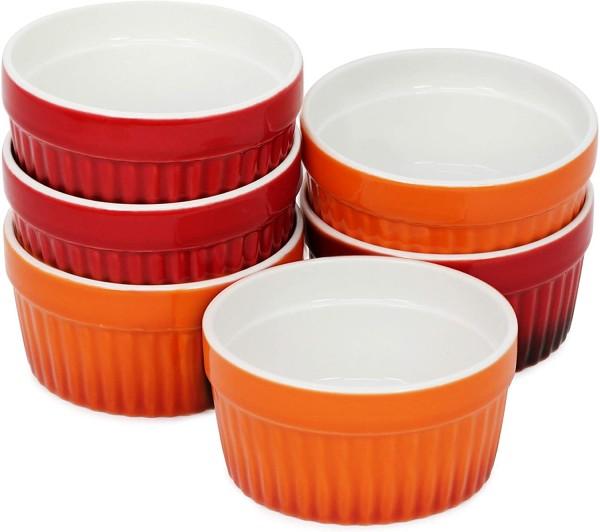6x Auflaufform Keramik orange/rot 9cm
