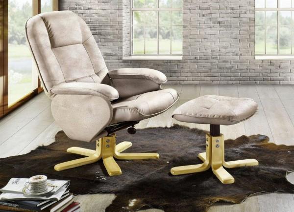 Relaxsessel + Hocker Laura Ruhesessel Sitzmöbel Fernsehsessel creme