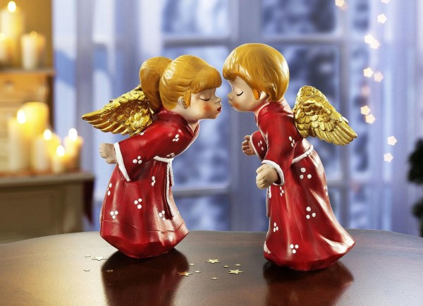 Küssende Engel 2er-Set rot