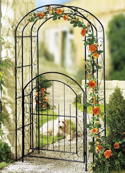 Rosenbogen mit Gartentür Metall