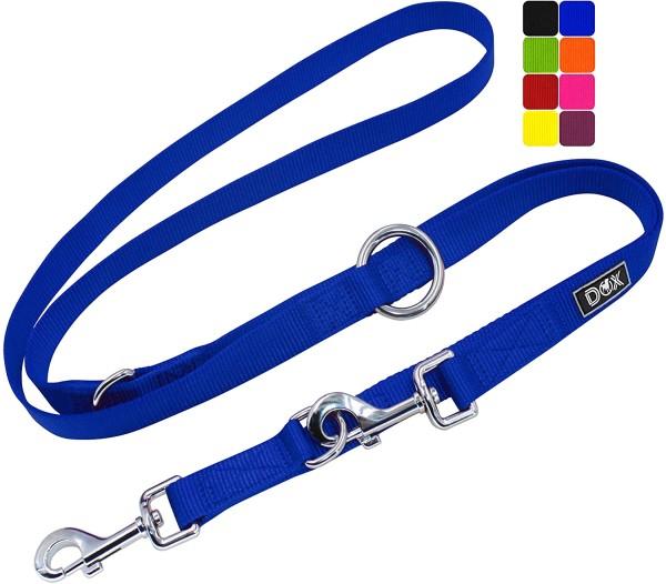 DDOXX Hundeleine Nylon 3fach verstellbar 2m blau Gr. L