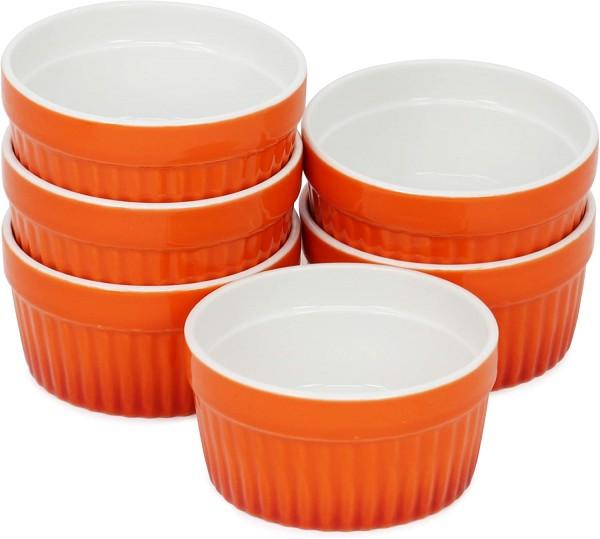 6x Auflaufform Keramik orange 9cm