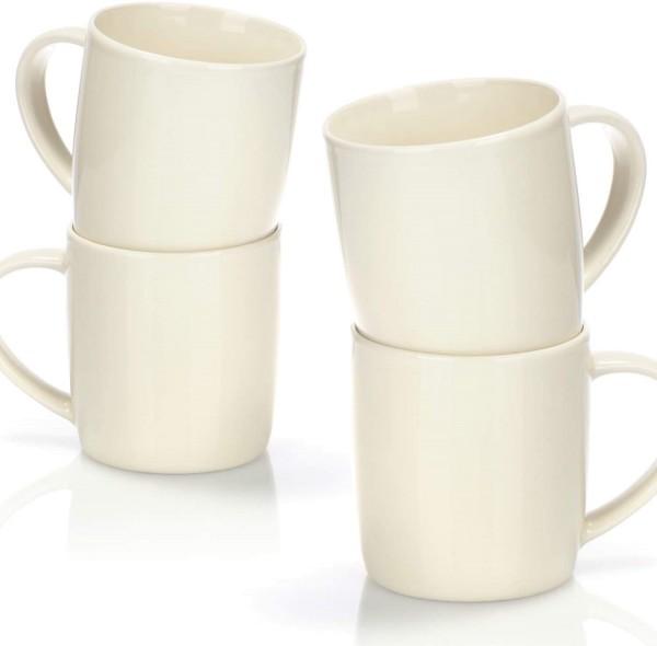 4X Kaffeepott XXL weiß Jumbotasse 330ml