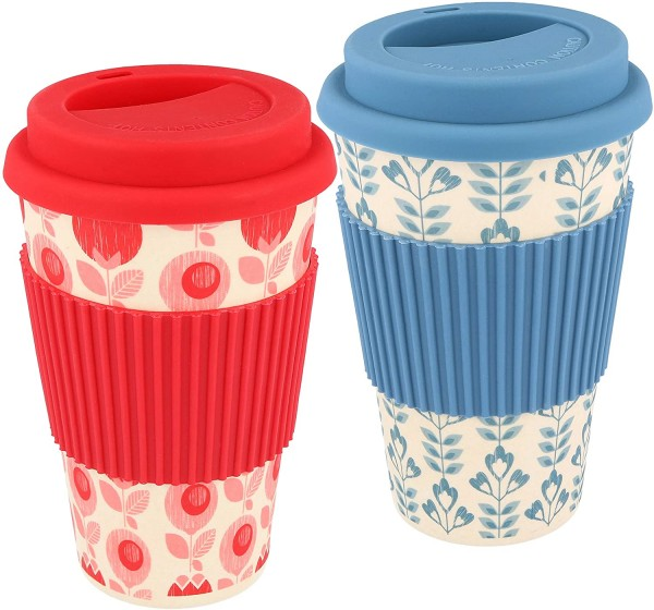 2X Coffee to go Becher aus Bambus rot/blau