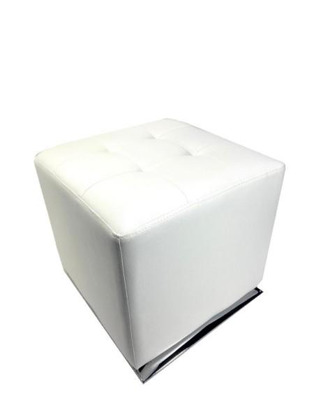Polsterhocker Weiß Kunstleder