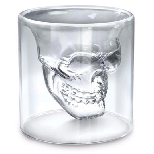 4x Totenkopf Glas doppelwandig Trinkglas Shotglas 150ml
