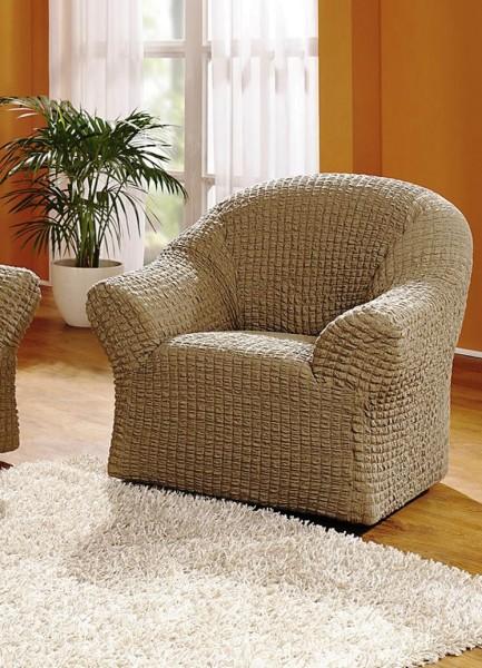Sesselbezug Stretchbezug Sessel Natur Dunkel