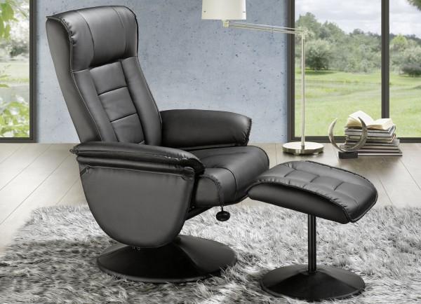 Relaxsessel + Hocker Sophie Ruhesessel Sitzmöbel Fernsehsessel schwarz