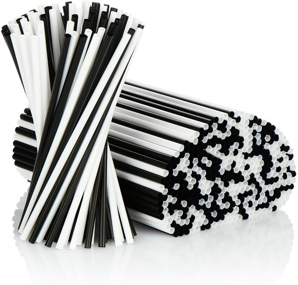 500x Trinkhalme - Strohhalme in schwarz/weiß Lebensmittelecht