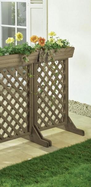 Zaunelement klein grau mit Pflanzeinsatz