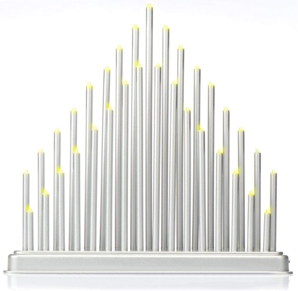 LED Schwibbogen Fensterbeleuchtung silber doppelreihig