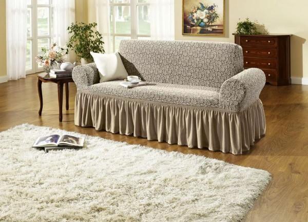 Sofabezug 3-Sitzer Sand Rosen Dessin