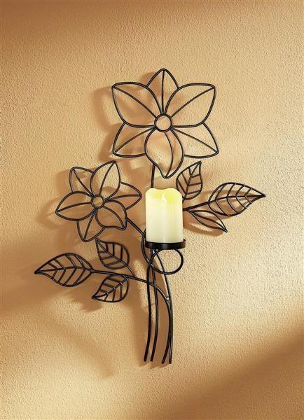 Wandkerzenhalter mit Kerze LED Echtwachskerze Wandlicht