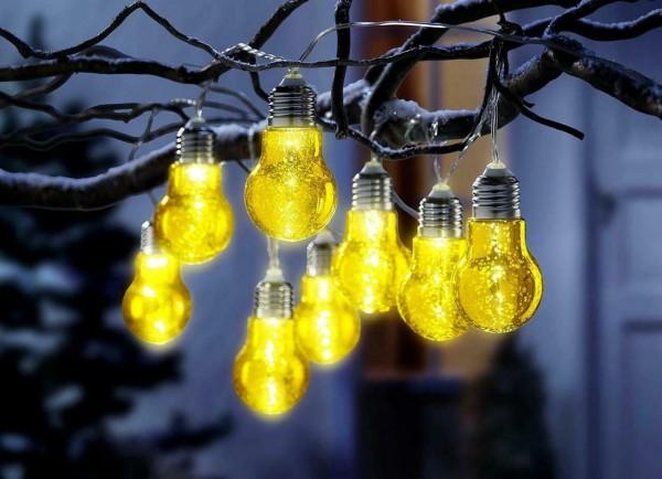 Lichterkette Glühbirne Gartenbeleuchtung Gold