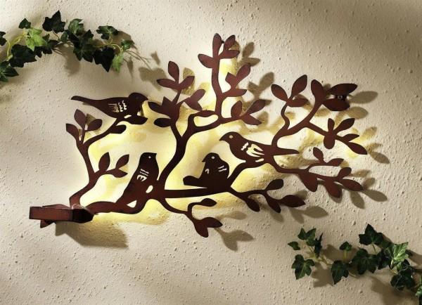 Wandbild Baum mit Vögel + Beleuchtung