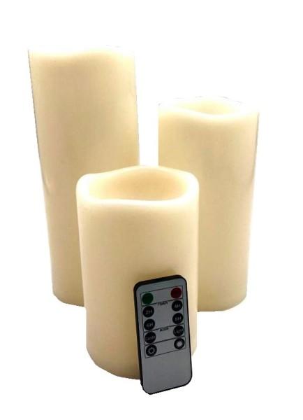 3x LED Echtwachs Kerze Creme