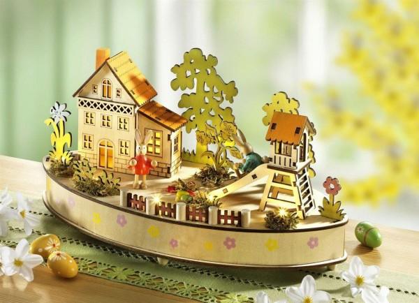 Frühlingsdekoration Beleuchtetes Dorf Ostern mit Spielwerk 50947 DS