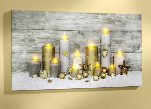 LED Bild Wandbild Leuchtbild - Kerzen im Schnee - Flackereffekt